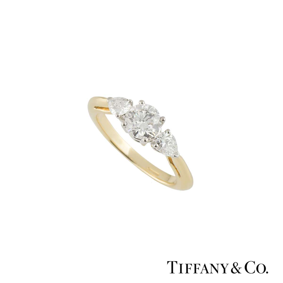Tiffany & Co. Yellow Gold Three Stone Diamond Ring